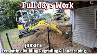 Full day of work excavating & Landscaping a backyard with new retaining walls 4k Timelapse