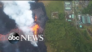 Lava from the Kilauea volcano can be seen from space