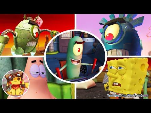 All Boss Fights & Final Boss - SpongeBob: Plankton's Robotic Revenge [1080p]