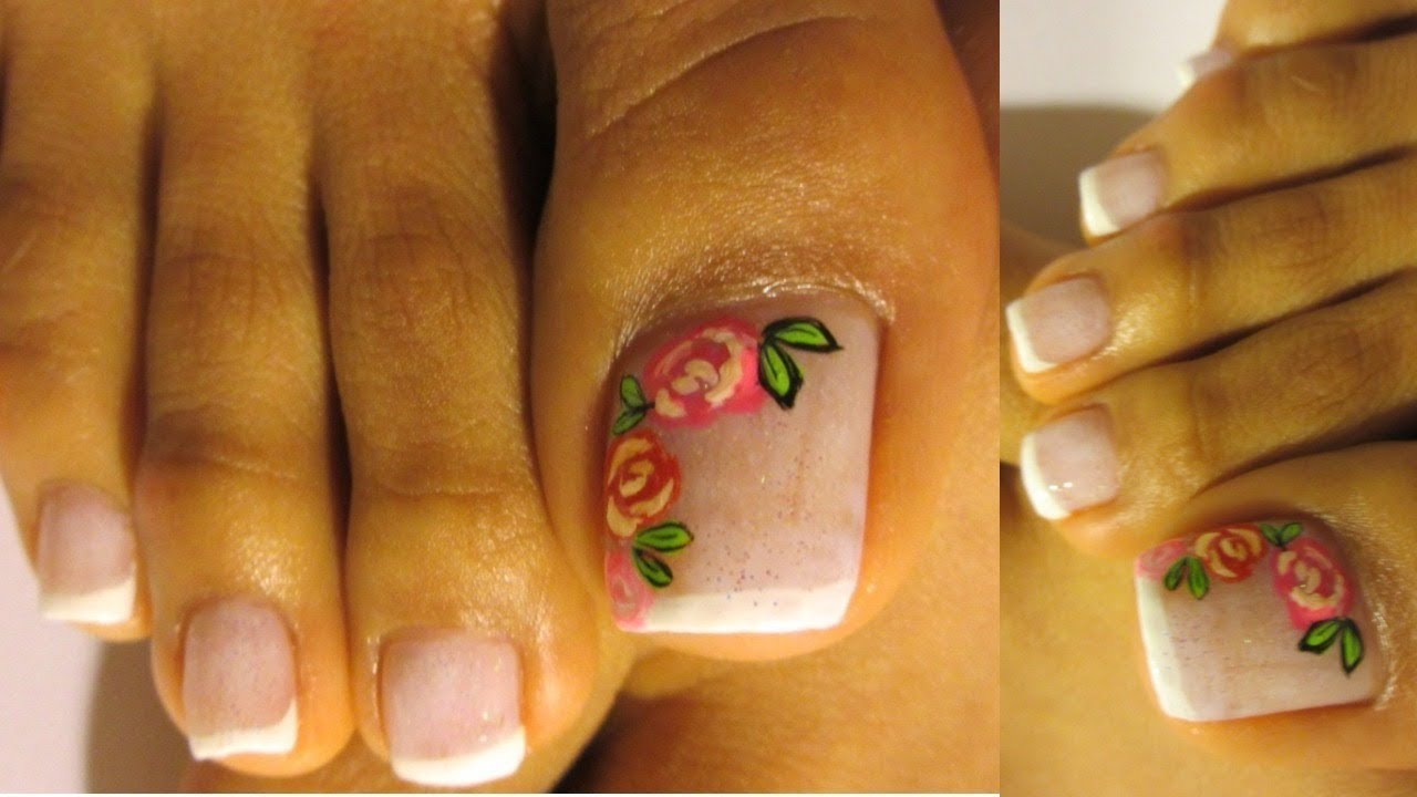 French Con Rosas Unas Decoradas De Los Pies Facil Roses Pedicure