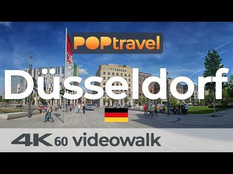 Walking in DÜSSELDORF / Germany - Hofgarten to Main Station - 4K 60fps (UHD)