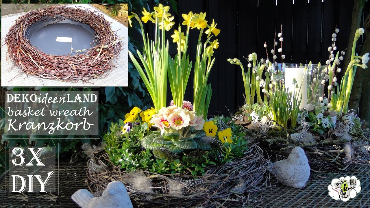 DIY-Easter/spring decoration: Porch basket wreath/ twig wreath from tree trimmings DekoideenLand