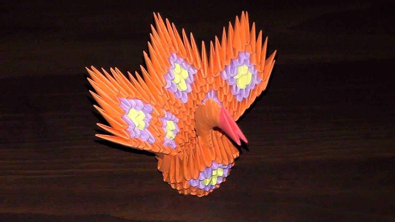 Сборка из оригами схемы павлина