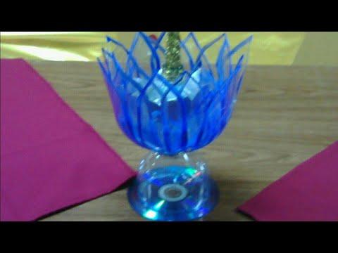 FLOR DE LOTO /LOTUS (Rosa del Nilo) CON BOTELLAS DE PLASTICO ,portavelas centro de mesa,regalo ,etc.