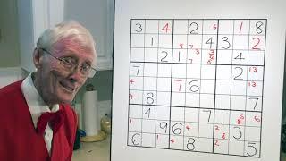 Sudoku. Tutorial 63 The X Wing.  Part 2 Using columns.