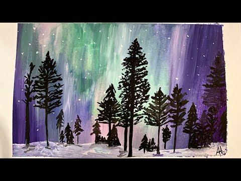 Watercolor tutorial landscape – Northern Lights
