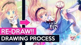 【PaintTool Sai】Alice (2010 Redraw) - Drawing Process