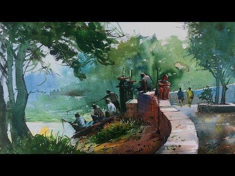 Watercolor painting demonstration on the spot at Powai Lake by Prashant Sarkar.