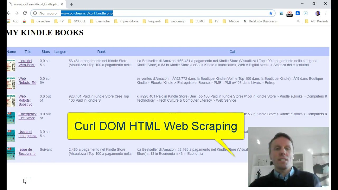 Web Scraping with Curl Dom Parser: create a Kindle Dashboard