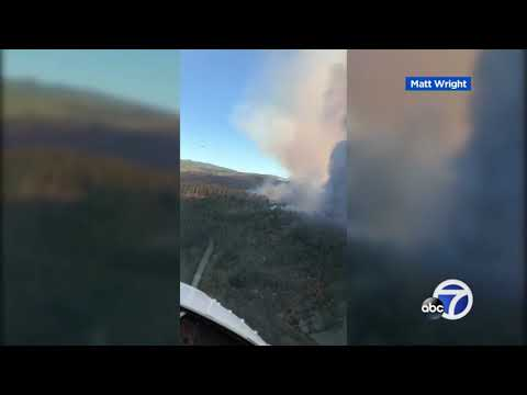 Aerial view over Camp Fire burning in Butte County