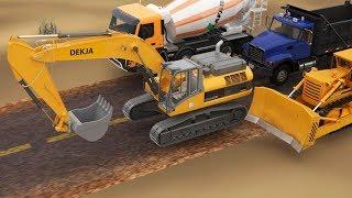การ์ตูน 3D เรียนรู้รถก่อสร้าง รถแม็คโคร รถดัมพ์ รถบดถนน รถขุด รถโม่ปูน 6 ล้อ รถเกรด