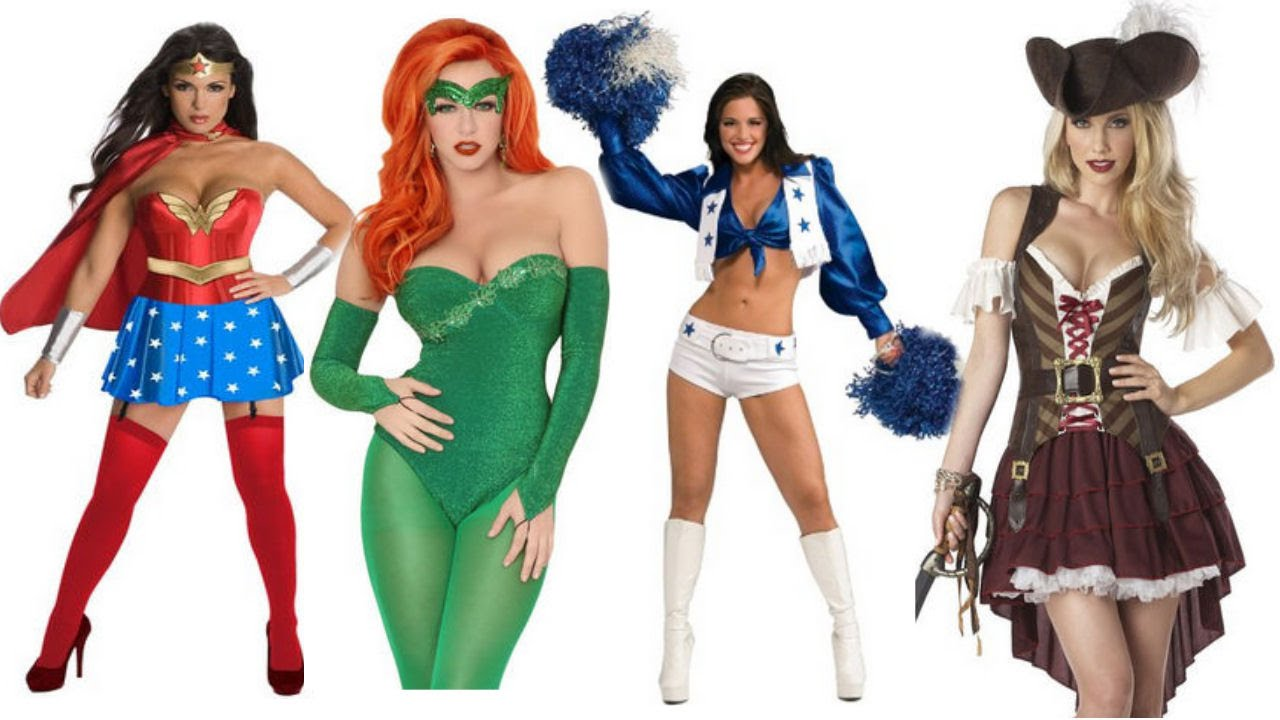 Easy Sexy Adult Halloween Costume Ideas For Women Wonder Woman Poison Ivy Pirate Cheerleader - YouTube  sc 1 st  YouTube : cheerleader halloween costume women  - Germanpascual.Com
