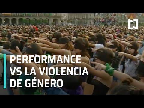 Performance contra la violencia de género en CDMX