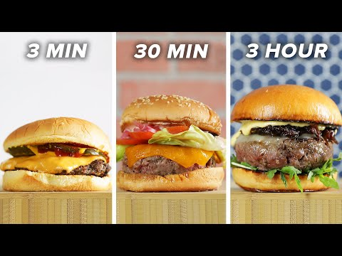3-Minute Vs. 30-Minute Vs. 3-Hour Burger Tasty