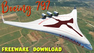 Boeing 797 Blended Wing Body Concept - Freeware Plane Download   FS 2020 PC 4K