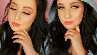 Peach Cut Crease Tutorial + Ombre Winged Liner!!