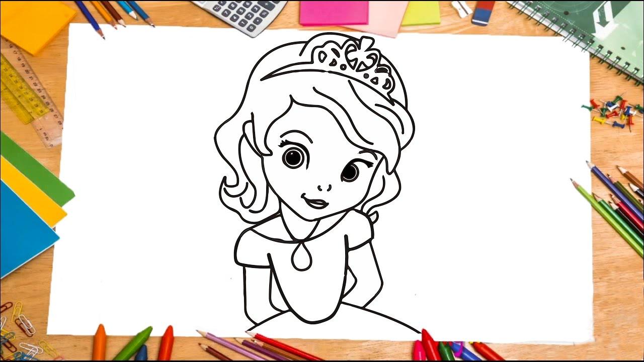 Como se dibuja la princesa Sofia paso a paso / how to draw sofia the ...