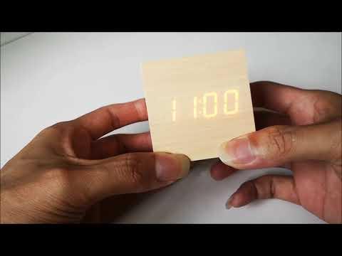 How to setting the Modern Wooden Wood Digital LED Desk Alarm Clock