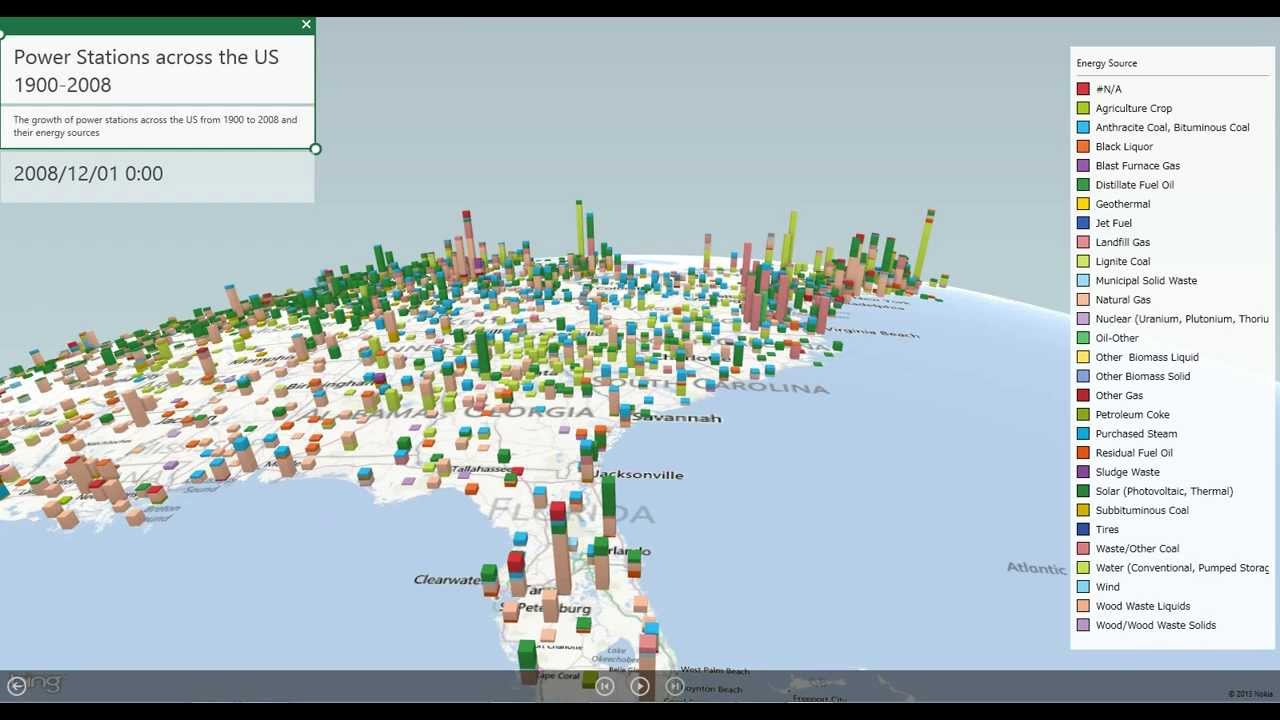 Power Map Preview for Excel 2013 - US Power Stations - YouTube