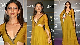 Rakul Preet Singh  In V Neck Gown At Vogue Women Of The Year Awards 2018