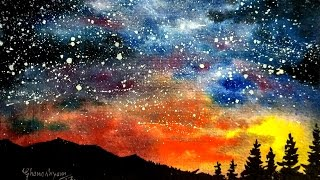 Watercolor Starry Night Sky Speed Painting | Paint with david |
