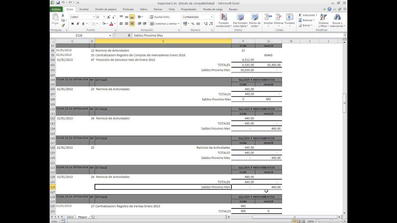Macro Excel - Mayorizacion - Contabilidad - YouTube