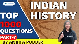 Most Important 1000 Indian History Question   WBPSC Exam   Ankita Podder   Part - 7
