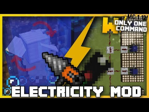 Minecraft - ELECTRICITY MOD With Only 2 Commands (Hydroelectric, solar, thermal, power tools)