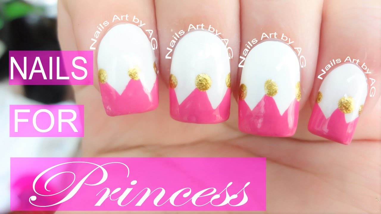 Diseño De Uñas Corona Princesas Princess Crown Nails Art Youtube
