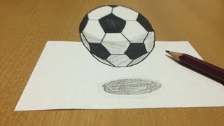 Trick Art, 3D Football Levitating Drawing - Anamorphic Illusion