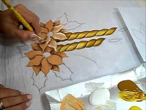 Pintura Em Tecido Vela E Flor De Natal How To Paint Christmas