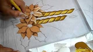 Pintura em tecido – Vela e Flor de Natal – How to paint Christmas