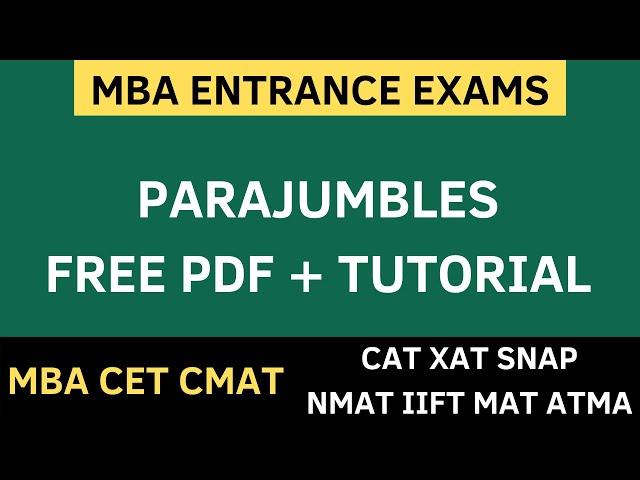MBA CET 2020 - Parajumbles | Verbal Ability | CMAT 2020