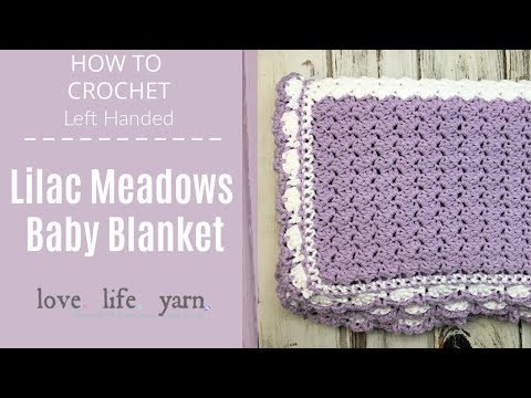 Lilac Meadow Baby Blanket Left Handed