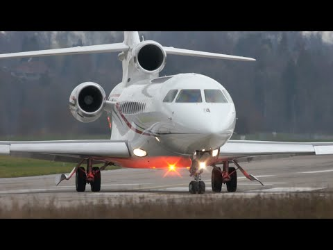 Prince Albert of Monaco's Dassault Falcon 7X Take-Off at Bern Airport