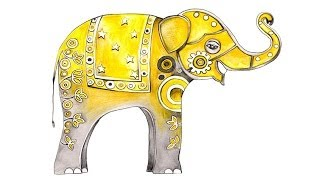 How to draw an elephant by Nazneen Bustani - Buddy in India illustration
