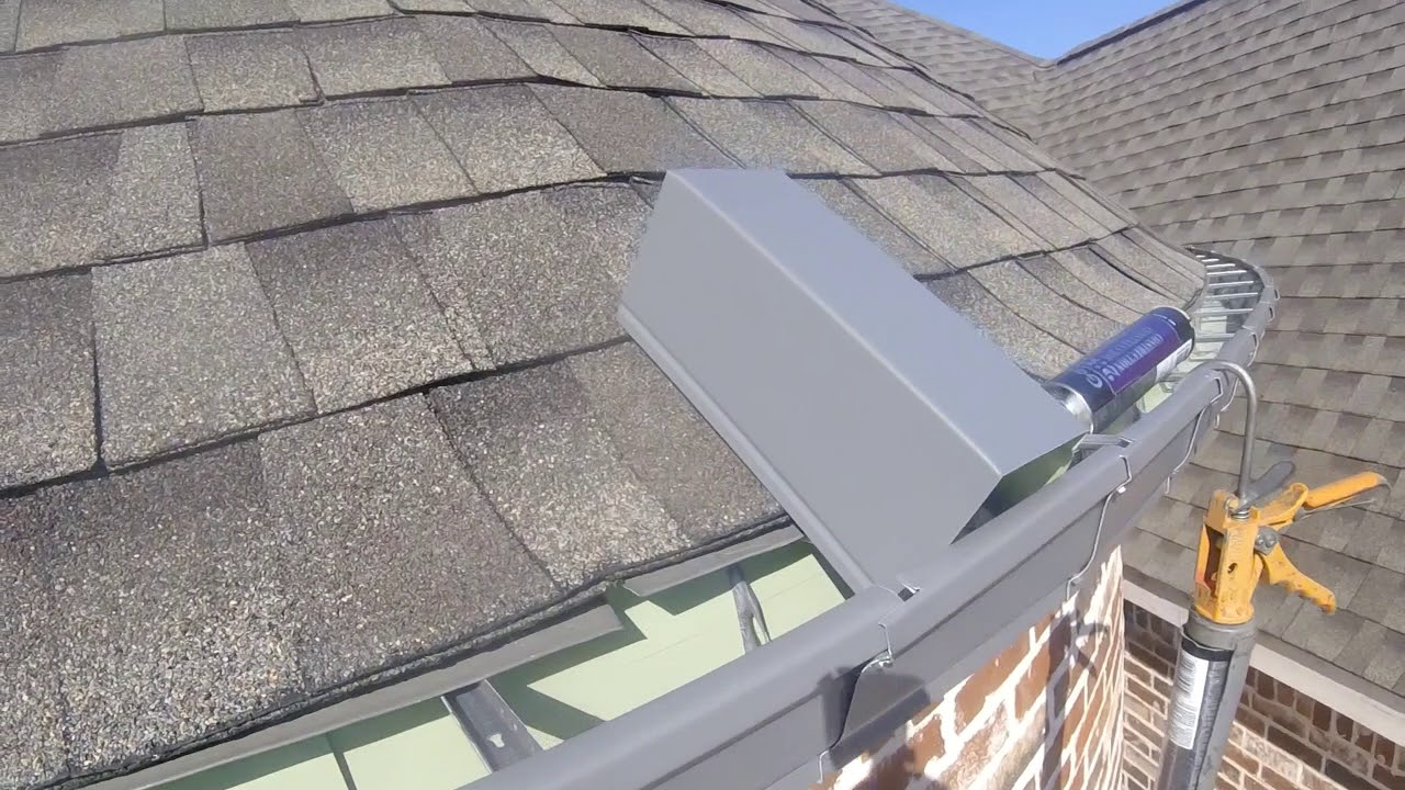 Installing New Rain Gutter On A Turret For A Homeowner