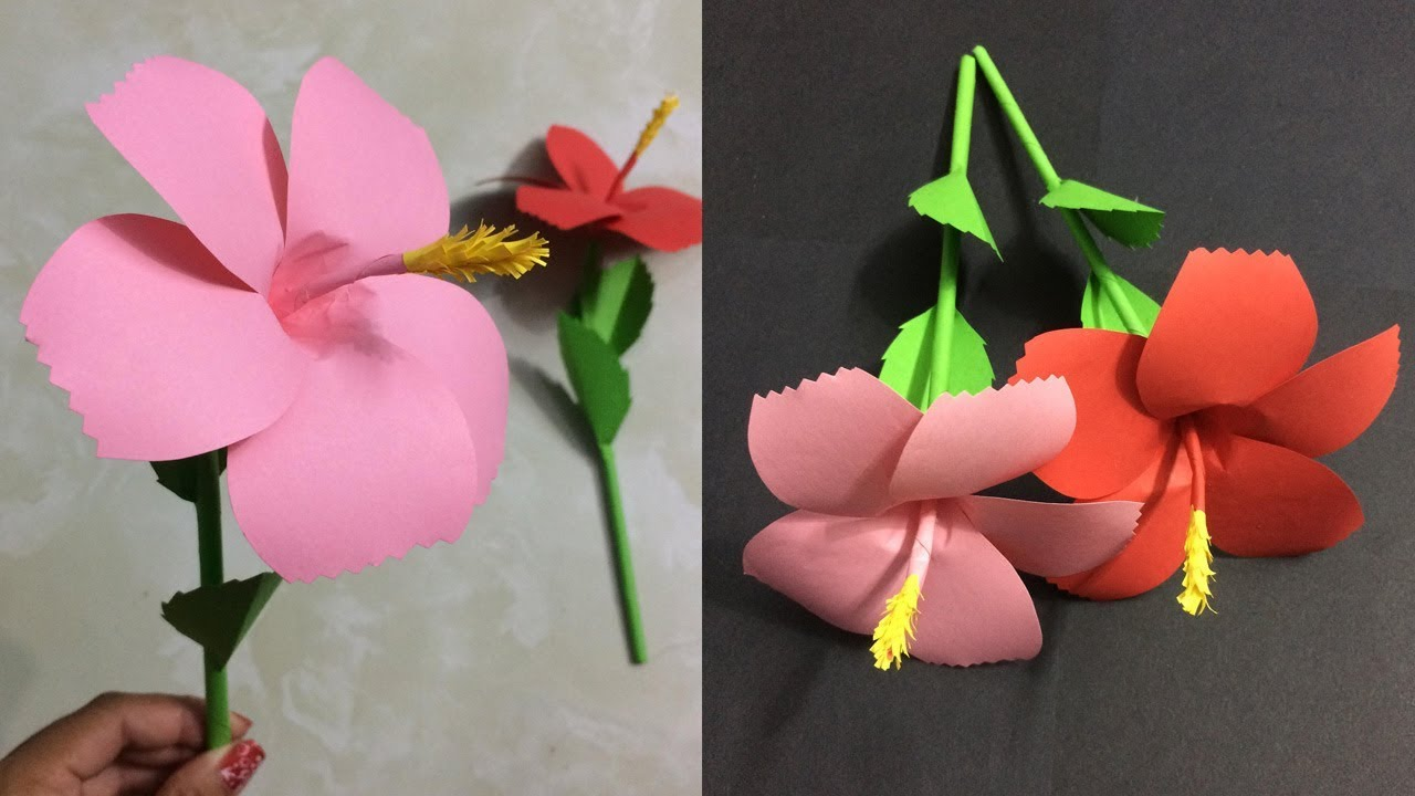 How To Make Hibiscus Paper Flower Making Paper Flowers Step By