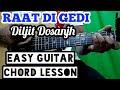 Raat di gedi - diljit dosanjh - easy guitar chord lesson, beginner guitar tutorial, guitar cover