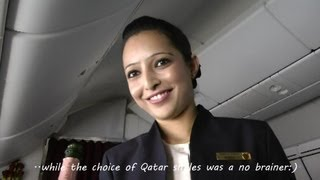 Inside Qatar Airways Boeing 787 Dreamliner Business Class Full Flight Doha-Frankfurt in HD