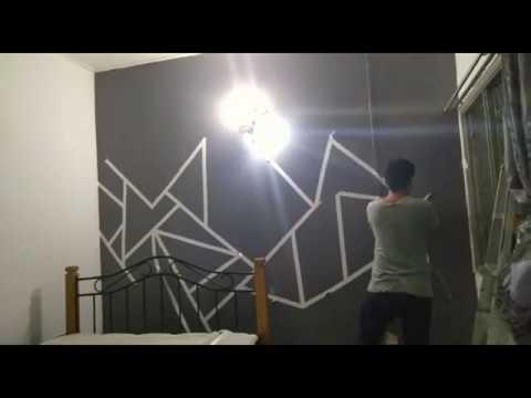 Diy Wall Deco Paint Geometric Wall Paint Cat Dinding Corak Geometrik Youtube