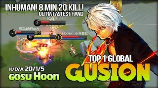 Unlimited Dagger Gusion 8 Min 20 Kill Inhuman Play by ɢᴏsᴜ Hoon Top 1 Global Gusion - Mobile Legends