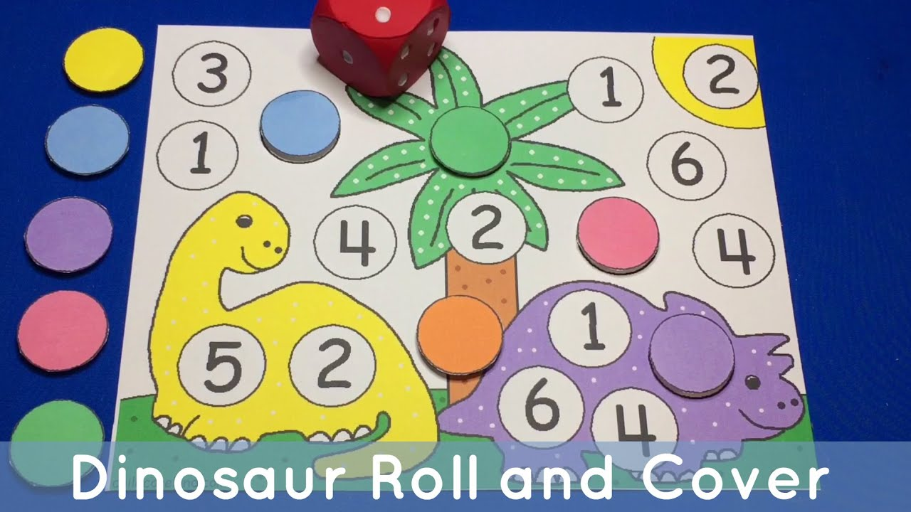Dinosaur Roll And Cover Preschool And Kindergarten Math