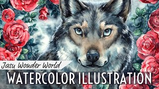 Wolf - December for JWW Calendar 2019 (watercolor painting time-lapse)