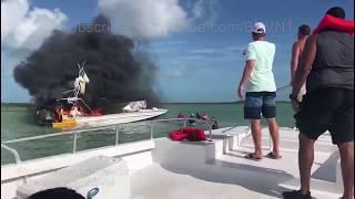Boat fire off the coast of Barraterre Exuma Bahamas - 6/30/2018
