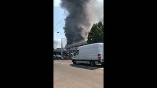 Incendio in autostrada A14 a bologna, visto dalla via emilia