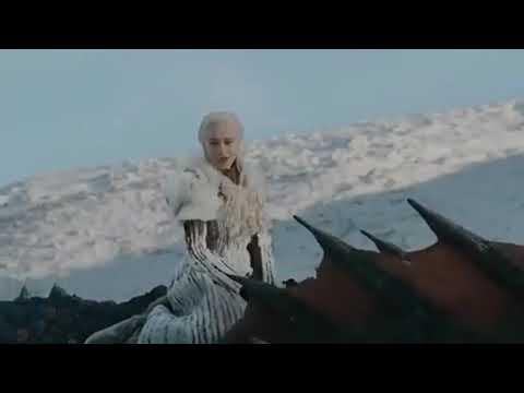 Denerys & Jon Snow Flying Dragon, Game Of Thrones 8 Season/ дени и жон летает на драконе