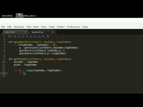 The quicksort algorithm coded live in Python