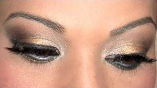 maquillage des yeux gold and silver smokey eyes