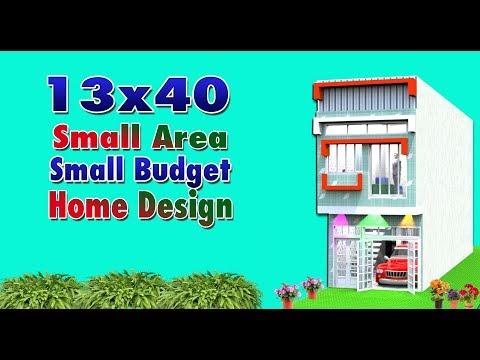 Modern home design idea for 13x40 feet small budget house.